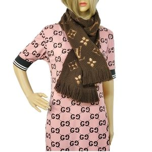 Louis Vuitton Logomania Shine Brown Monogram Scarf